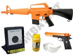 US Military Vietnam BB Gun Bundle Spring M16 & 1911 Replica, Pellets & Target Set 2 Tone Orange
